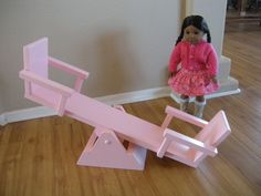 Items similar to Doll Teeter Totter for American Girl Dolls - Bitty Twins - or Similar-sized Dolls on Etsy American Girl Doll Room, American Girl Furniture, American Girl Crafts, American Girls, Doll Crafts, Diy Doll, Diy Barbie Furniture, Dollhouse Furniture, Ag Dolls