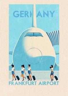 ✈ Frankfurt Airport, Germany Poster by Rui Ricardo, illustrator. We love the vintage-feel of all of his travel posters. Cuba Vintage, Photo Vintage, Vintage Ads, Vintage Hawaii, Vintage Crafts, Retro Poster, Vintage Travel Posters, Retro Airline, Vintage Airline