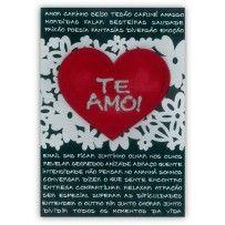 Cartão Romântico Artesanal G Te Amo preto