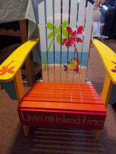 """hand painted ITS 5 O""""Clock Somewhere Adirondack chair. Perfect for any patio or deck chair"""