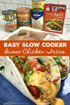 Todays' recipe is a tasty twist for one of my most popular slow cooker recipes - Slow Cooker Queso Chicken Tacos! SLOW COOKER QUESO CHICKEN TACOS Taco night just got a lot more flavorful with Chicken Taco Recipes, Mexican Food Recipes, Beef Recipes, Cooking Recipes, Crockpot Chicken Tacos, Taco Chicken, Easy Chicken Tacos, Potluck Recipes, Dinner Crockpot