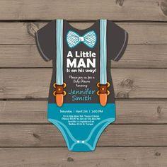Little Man Baby Shower invite Baby Shower por Anietillustration