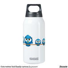 Cute twitter bird family cartoon insulated water bottle
