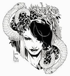 regram @laura_braga.art Sketch #laurabragasketch #laurabraga #doodle #art #sketchbook #tattoo #snake #digitalart  #rose #roses #tattooart