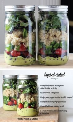 Layered Salad: Do these on Sunday and have fresh salads until Friday! So easy and so efficient! If you put veggies like cucumbers at the bottom with the dressing, they soak up some flavor too instead of getting mushy! Mason Jar Meals, Meals In A Jar, Mason Jars, Salad In A Jar, Soup And Salad, Healthy Snacks, Healthy Recipes, Healthy Choices, Healthy Living