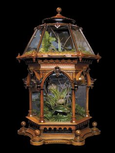 Unusual Victorian Renaissance revival hexagonal terrarium. English, Circa 1860-70 The six canted glass sides of the top and bottom section all framed with well carved moldings and details including gothic arches. The collection of rare plants from all over the world was a popular pastime as well as a serious pursuit. Easier travel advanced the sciences, especially botany.