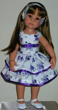 "Ribbons & roses dress & alice band fits 18"" Dolls Designafriend/Gotz hannah"