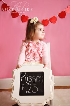 Kisses 25 cents chalkboard sign for Valentines' Day!