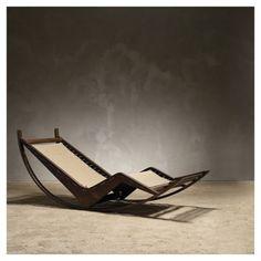 styletaboo:  Franco Albini - PS16 rocking chair Prototype [oak, cotton fabric, 1940]