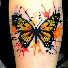 Butterfly tattoo #Brightcolors #Paintsplatters