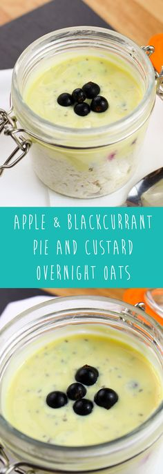 Sugar Free, Syn Free Apple & Blackcurrant Pie & Custard Overnight Oats | pinchofnom.com