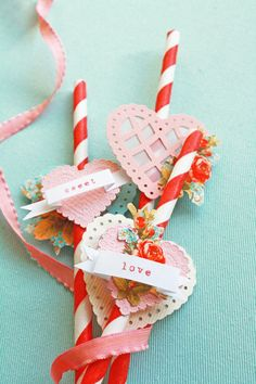 valentine straws...love the colors!