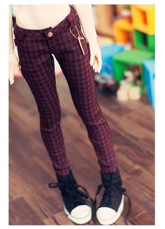 SD13 girl check Skinny Pants -Wine