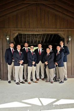 Navy blazers & khaki pants groomsmen attire and green tie instead of red Groomsmen Attire Khaki, Khaki Suits, Groom Outfit, Wedding Outfits, Wedding Wear, Wedding Attire, Red Ties, Navy Blazers