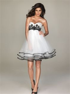 A-line Sweetheart Empire Tulle White Short Prom Dress PD10536 www.dresseshouse.co.uk £80.0000