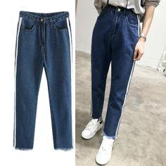 28.58$  Buy now - https://alitems.com/g/1e8d114494b01f4c715516525dc3e8/?i=5&ulp=https%3A%2F%2Fwww.aliexpress.com%2Fitem%2FIn-the-autumn-of-2016-new-women-s-fashionable-all-match-waist-side-stripe-edges-do%2F32720818067.html - autumn 2016 new women's fashionable all-match waist side stripe edges do old Haren jeans