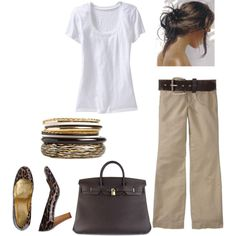 More casual - white v-neck top with khakis, boat shoes and green fossil purse.  Would work with jean jacket