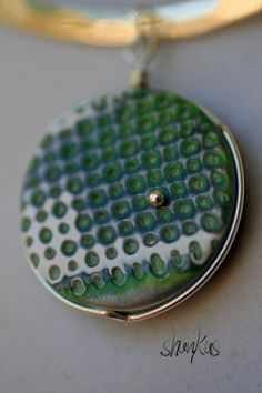 Polymer Clay Pendant  Green  Round  WEARABLE ART by shankas, $15.00