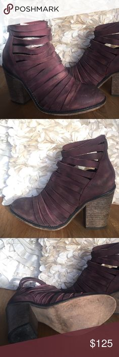 """Freepeople """"Hybrid"""" ankle boot in Cordovan Beautiful color: Cordovan. Shades of burgundy and dark rose. Stacked heel strappy leather ankle boots with full coverage to mid-instep. Zip up closure on back. Modern and sartorial styles, artisan crafted from fine leathers and premium materials, FP Collection shoes are coveted for their signature cutting-edge aesthetic.  Sizing Tip: This style runs true to size. If between sizes, size up. Made in Portugal Product measurements Heel: 3.62"""" = 9.19 cm…"""
