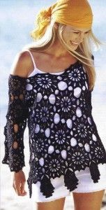 Fabulous Crochet a Little Black Crochet Dress Ideas. Georgeous Crochet a Little Black Crochet Dress Ideas. Pull Crochet, Mode Crochet, Knit Crochet, Crochet Summer, Crochet Tops, Black Crochet Dress, Crochet Blouse, Summer Blouses, Crochet Woman