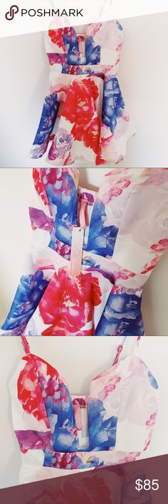NWT ✨Floral Plunge Neckline Special Occasion Dress Spaghetti strap with a plunging neckline. Padded. Watercolor Red, Pink, Blue and Purple Florals. I personally think it would make a beautiful spring fling dress but it works for all special occasions. Weddings, Prom, Homecoming, or any formal dinners. The Blossom Apparel Dresses Mini