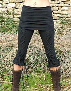 BLACK PIXIE LACE LEGGINGS WITH MINI SKIRT , HIPPY, PSY TRANCE, FESTIVAL, YOGA