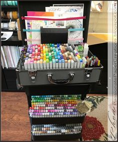 Passionate Paper Creations: I think I am smarter than a grader! Art Supplies Storage, Craft Room Storage, Craft Organization, Copic Marker Art, Copic Markers, Marker Storage, Crayola Colored Pencils, Craft Room Design, Cool Paper Crafts