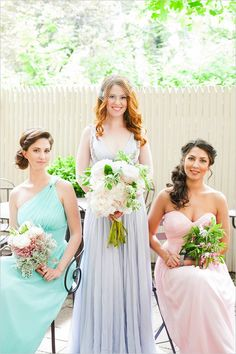 Donna Morgan bridesmaid dresses #pastelbridesmaids #watercolorwedding #weddingchicks http://www.weddingchicks.com/2013/12/30/watercolor-wedding-ideas/