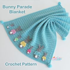 A little addition to the Bobtail collection The Bunny Parade Blanket 🐰🐰🐰 Pattern includes 2 tutorials for both the blanket and the bunnies… Crochet Blanket Patterns, Crochet Afghans, Baby Blanket Crochet, Baby Patterns, Afghan Patterns, Crochet Bunny, Knit Crochet, Crochet Teddy, Bunny Blanket