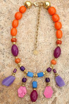 Oscar de la Renta Necklace: Custom Exotic Orange Resin, Purple Glass, Pink Stone Slabs, Blue Jade and Gold Art to Wear Necklace $325