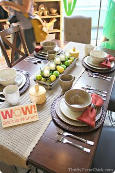 Love the long tray (w/ fruit & votives) as a centerpiece!  Better Homes and Gardens  for Walmart