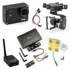 DIY Drone FPV Set with 2000mw Transmitter 7 Inch FPV Monitor Feiyu G3 3-axis Gimbal Gitup git2 Camera FPV Cable Panel Antenna