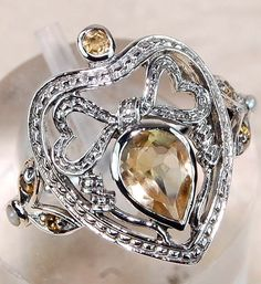 Genuine Citrine & Seed Pearl 925 Solid Sterling Silver Art Deco Ring Sz 6 #OldEnglishSilver