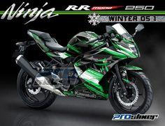 Kawasaki Ninja RR Mono 250cc Motor Warna Hijau Modifikasi Stiker Desain Grafis WINTER 05 1 Hijau Putih Prostiker