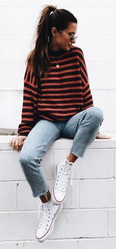 Fall Looks : Picture Description casual outfit striped sweater + boyfriend jeans https://looks.tn/season/fall/fall-looks-casual-outfit-striped-sweater-boyfriend-jeans/ #casualfalloutfits #sweaterfall #casualoutfits #sweatersoutfit