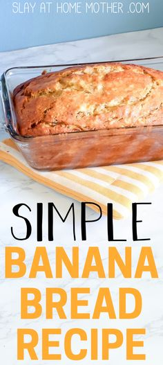 Simple Banana Bread Recipe Without Butter Looking for an easy banana bread recipe? This recipe uses no butter or milk, and is super easy to mix up and bake. Serve this simple banana bread with a warm glass of milk or a cup of hot coffee. Easy Banana Bread Recipe Without Butter, Recipe Without Milk, Homemade Banana Bread, Moist Banana Bread, Banana Recipes Without Milk, Easy Healthy Banana Bread, No Butter Banana Bread, Baking Without Butter, Blueberry Bread