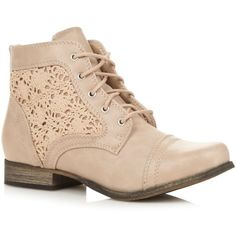 Beige Fornesighe crochet ankle boots (1.890 CZK) found on Polyvore