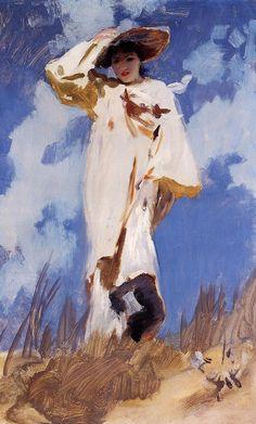 John Singer Sargent,   A Gust of Wind   c1886-c1887  (interesting sky)