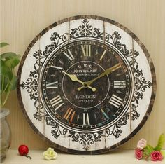 Wall Clock Tracery Vintage Rustic Shabby Art Clock Chic Home Office Cafe Decoration – Baskers Rustic Shabby Chic, Shabby Chic Homes, Rustic Decor, Unique Home Decor, Vintage Home Decor, Xmas Decorations, Cafe Decoration, Bohemian Interior, Wooden Walls