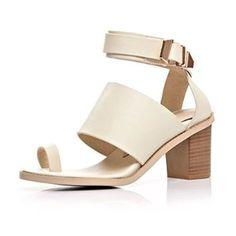 Nine Seven Genuine Leather Womens Ankle-strap Ring Toe Chunky Heel Handmade Sandal