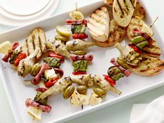 These colorful Antipasto Skewers are the perfect outdoor appetizer for a crowd: they can be assembled ahead of time and grilled right before serving.