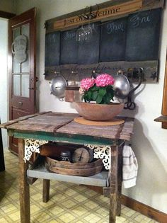 Love The Repurposed Chalk Board and Old Table!