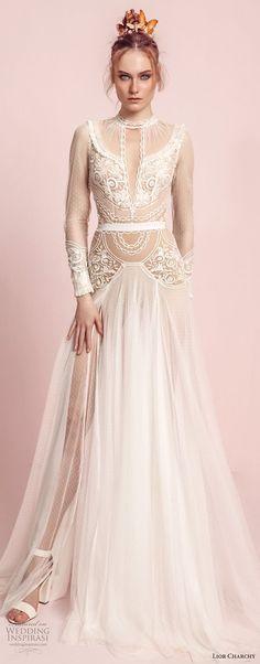 lior charchy spring 2017 bridal long sleeves high neck keyhole heavily embellished tulle skirt side slit bohemian a line wedding dress sweep train (11) mv