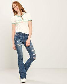 ΠΑΝΤΕΛΟΝΙ JEAN FLARE Jean Flare, Flare Jeans, Spring Summer, Pants, Collection, Fashion, Trouser Pants, Moda, Fashion Styles
