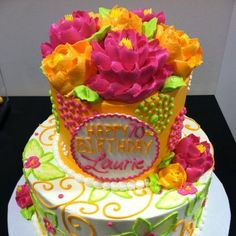 buttercream stacked cake by the white flower cake shoppe Buttercreme gestapelt Kuchen von der Flower Cupcake Cake, Cupcake Cakes, Flower Cakes, Cake Decorating Techniques, Cake Decorating Tips, Cookie Decorating, Edible Creations, Cake Creations, Pretty Cakes