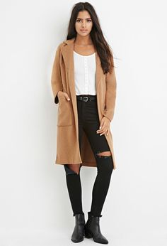 Today's outfit: LONGLINE CAMEL COAT AND STAN SMITH BLACK & WHITE SNEAKERS FOUND ON ASOS.COM.