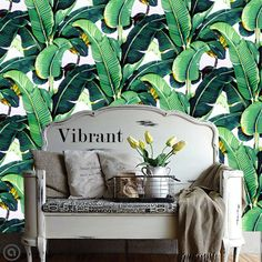 Banana Leaf rimovibile Wallpaper-Golden Girls di AccentWallCustoms