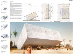 [AC-CA] International Architectural Competition - Concours d'Architecture [DAKAR] Temporary Cinema Cinema Architecture, Mosque Architecture, Architecture Panel, Religious Architecture, Presentation Board Design, Architecture Presentation Board, Urban Design Concept, Facade Design, Poster Layout