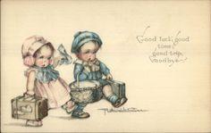 Ruth Welch Silver - Cute Kids GOOD LUCK GOOD TIME GOOD TRIP Postcard