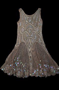 Fawn Velveteen 1920s Bead & Sequin Rose Gold Flapper dress